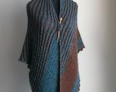 HandKnit Asymmetrical Shoulder Shawl Scarf Cowl Wrap, Stylish Comfort Prayer Meditation, Turquoise Blue Rust, Ready to Ship FREE SHIPPING