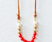 Geranium Red and Leather Bead Strand Necklace