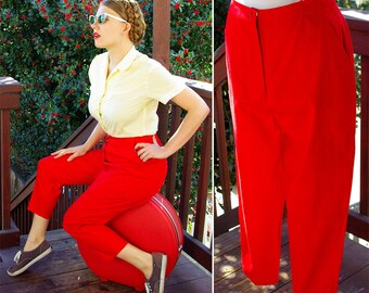 CHERRY Red 1950's 60's Vintage Bright Red Capri Pants Pedal Pushers // size Medium