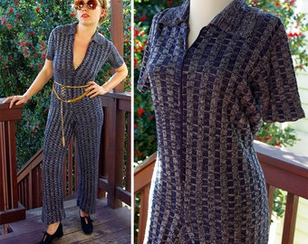 FUNKY Town 1970's Vintage Navy Blue Space Dyed Knit Pantsuit with Front Zipper // size Small Med // by Joseph MAGNIN