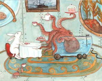 RESERVED for LS - Original Art - Tea with Octopus - Watercolor Rabbit Painting