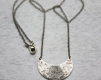 silver crescent moon necklace, sterling silver small shield necklace, moon pendant, tribal pendant, everyday necklace