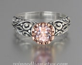 BEATRICE engagement ring in silver and 14K gold with Morganite