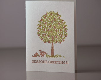 Letterpress Holiday Partridge and Pear Tree 6 Pack of Cards