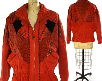 Patchwork Suede Puffy Jacket / Novelty Printed Plaid / Vintage 1990s Red Suede Puffer Jacket