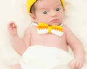 baby hat and bowtie candy corn Halloween costume sweetness overload newborn baby photography prop