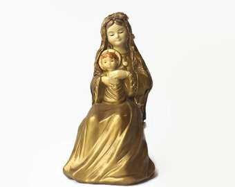 Paper Mache Virgin Mary and Baby Jesus Figurine, Christmas Decor, Vintage Schmid Madonna and Child, Religious Collectible