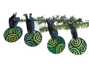 SALE - Handmade Ornaments - Black and Green Swirl Mixed Media Ornament Set, 4 Christmas tree ornaments, xmas decoration, decor, holiday gift