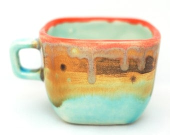 Small Square Ceramic Coffee Cup - Handmade Cup - Pottery Cup - Ceramics and Pottery - Modern Ceramics