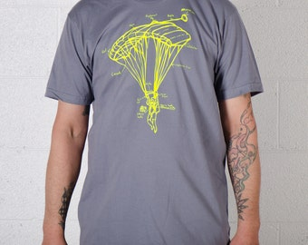 PARACHUTE TEE LARGE Men's skydiver Tshirt Neon Yellow on Slate