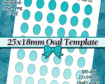 25x18mm Oval Cameos DIY DIGITAL Collage Sheet TEMPLATE 8.5x11 Page with Video Tutorial Instructions (Instant Download)