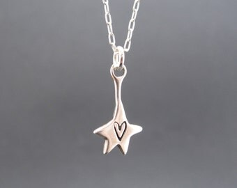 Sterling Silver Star on a String Necklace - Cute Hanging Star with Heart Pendant