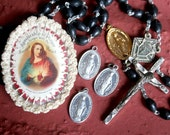 Vintage Religous 6 Piece HOLY Medals ROSARY Crochet Sacred Heart Catholic Shrine Supplies Jewelry SUPPLIES Assemblage  Curiosity Cabinet