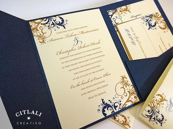 Navy And Gold Wedding Invitations: Filigree Swirl Wedding Invitations Rich Navy Metallic By