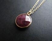 Elle. Round Ruby Bezel Pendant on 14K Gold FIlled Chain, Petite Gemstone Jewelry, July Birthstone