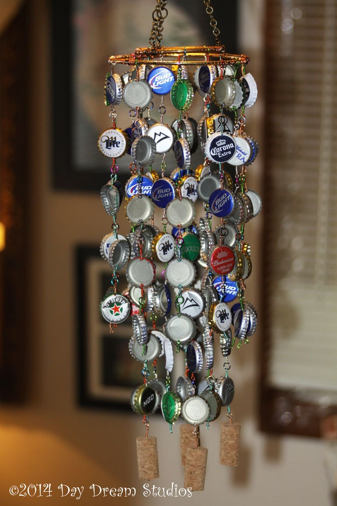 Colorful beer bottle cap wind chime for Bottle cap wind chime