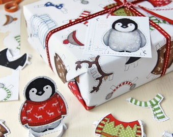 Penguin Dress Up Activity Wrapping Paper Set - Christmas Wrapping Paper - Penguin Paper Doll - Festive Gift Wrap - Children's Penguin Toy