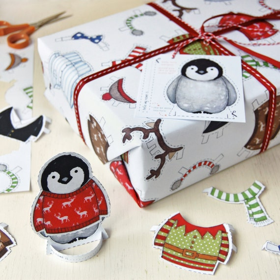 penguin wrapping paper Penguins jumbo christmas wrapping paper 14m | m&s the 14-metre roll features a cute, illustrated penguin in a series of fun positions.
