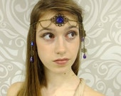 Cobalt Blue and Antiqued Brass Circlet, Blue and Brass Headpiece, Water Fairy Circlet, Bridal Circlet, Renaissance Head Piece, Larp