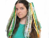 Ribbon and Yarn Hair Falls, Dread Fall Wigs - St Patrick's Day Hair Accessories