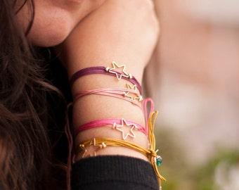 Dainty Star Bracelet. Adjustable Cord Bracelet. Star Cord Bracelet. Minimalist Bracelet. Bohemian Star Bracelet. Friendship Bracelet. Star
