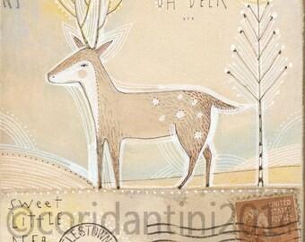 Cori Dantini Holiday art - deer - folk painting - watercolor,  8 x 8limited edition and archival print by cori dantini