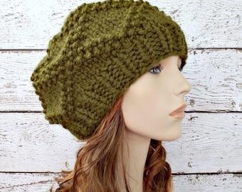 Green Knit Hat Green Womens Hat - Diamond Brocade Beret in Olive Green Hat - Green Beret Green Beanie Womens Accessories