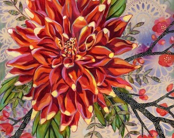 Orange Dahlia 6x6 inch Archival Print on Wood
