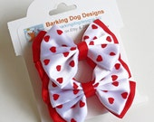 Valentine Hair Bow. Red Heart Stacked Bows. Girls Valentine's Day Hairclips Set of 2. Baby Hair Clips With Non-Slip Grips. Double Quadra Bow