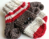 Kids Knit Sock Monkey Mittens. 2 to 4 Years Knit Winter Mittens With Thumbs. Unisex Handwarmers. Childs Hand Knit Mittens. Thick and Warm