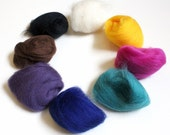 Colored Wool Roving Variety Pack for Needle Felting. 8 Mixed Colors of Unspun Wool Fiber. Fiber Trends Color Assortment Sampler Pack