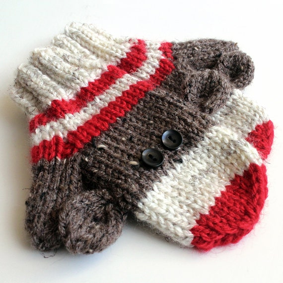 Knitting Pattern For Sock Monkey Mittens : Kids Knit Sock Monkey Mittens. 2 to 4 Years Knit Winter