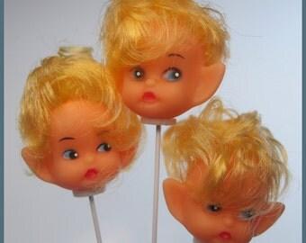 3 x Vintage Elf Doll Head Picks