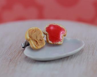 Peanut Butter Jelly Sandwich - Studs / Post Earrings