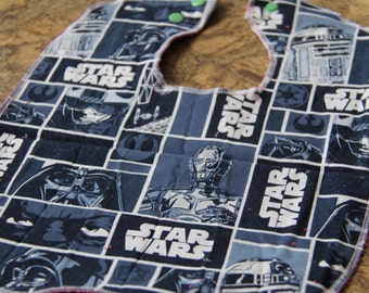 Graphic Gray Star Wars Characters Baby and Toddler Bib