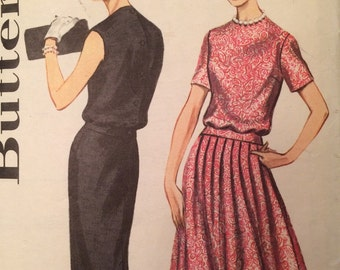 1960's Misses' Two-piece Dress with two skirt styles -Vintage Butterick 2105 Pattern