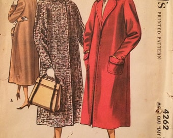 1950s Vintage Coat Pattern  - McCall's 4262 - Easy to Sew