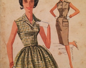 1960's Misses' Dress with Slim or Full Skirt, Vintage Shirtwaist Pattern McCall's 6262