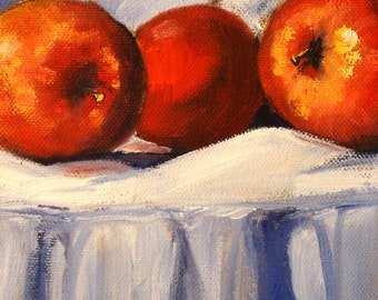 Apple Still Life Painting, Original Oil 6x8 Canvas, White Tablecloth, Blue, Red Fruit, Small Kitchen Wall Decor, Food Art, Vegan