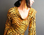 Bring the Noise - iheartfink Handmade Hand Printed Womens Yellow Cowl Neck Jersey Top