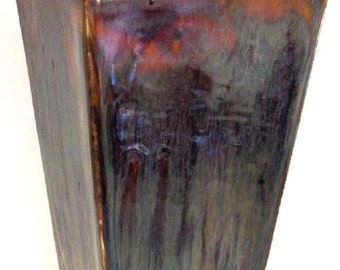 Vase - 4 Sided Purple T Glaze