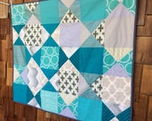 Modern Baby Quilt, Quilted Blanket Crib Bedding, Ready To Ship. Gender Neutral Colors Teal & Gray Fabric. Baby Shower Gift.  Custom Avail.