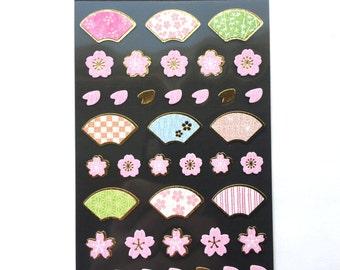 Cherry Blossom Stickers - Fan Stickers - Flower Stickers - Japanese Stickers - Traditional Japanese  S135
