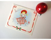 1950s Christmas Card - Little Girl and Red Bird