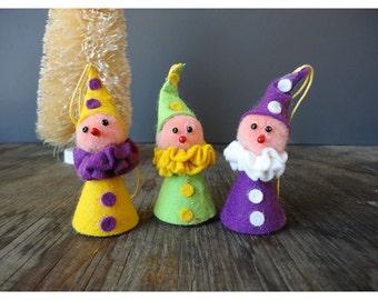 Vintage Christmas Ornaments - Set of 3 Elves - Handmade in West Germany
