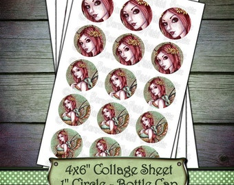 Fairy Bottle Cap Images - 1 Inch Circles - 4x6 Digital Collage Sheet - Printable Fairy Images - Instant Download - Arden - PERSONAL USE ONLY