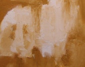 """Painting, gold ochre, on offer, 14 x 10 inches, original abstract landscape, """"Fen Park, November"""""""