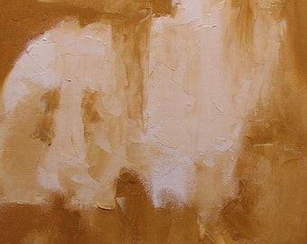 "Painting, gold ochre, 14 x 10 inches, original abstract landscape, ""Fen Park, November"""
