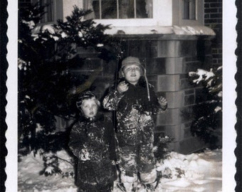 vintage photo Little Boys at Night Covered in Snow by House 1960