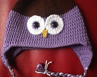 Owl Crochet Hat Custom size and color